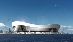 Eco-friendly, futuristic, Floating Stadium, future, Qatar, architecture, green future, solar energy, wind energy, alternative energy, architecture, building, modern design, water, yachts