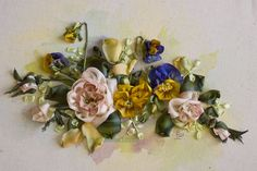 pansies and roses ribbon embroidery Ingrid Lee