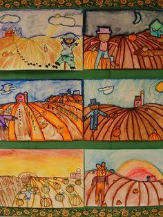 a faithful attempt: One Point Perspective Pumpkin Patch Landscape grade 5 Thanksgiving Art Projects, Fall Art Projects, Halloween Art Projects, Landscape Art Lessons, Theme Halloween, October Art, 2nd Grade Art, Grade 3, Perspective Art
