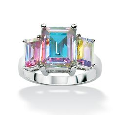@Overstock.com - Lillith Star Sterling Silver Aurora Borealis Cubic Zirconia Ring - Baguette-cut cubic zirconia ringSterling silver jewelryClick here for ring sizing guide  http://www.overstock.com/Jewelry-Watches/Lillith-Star-Sterling-Silver-Aurora-Borealis-Cubic-Zirconia-Ring/5318524/product.html?CID=214117 $33.96