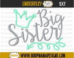 Big Sister Crown and Arrow Swirls 4x4 5x7 6x10 Machine Applique Embroidery Design pes jef dst hus vip vp3 xxx exp pec