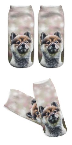Unisex 3D Printed Cotton Socks Naive Dog Printed Casual Style 19cm Low Anklet Socks Women Calcetines Chaussettes