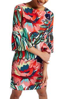 MARKS & SPENCER COLLECTION Floral Print Flared Sleeve Tunic Dress T42/2826.  UK14 Regular EUR42 Regular.  MRRP: £45.00GBP - AVI Price: £25.00GBP