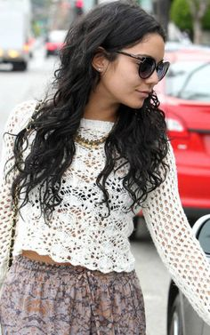 Vanessa Hudgens - long curly hair, my favorite actress growing up, thought her and zac effron were cutest couple- high school musical;)