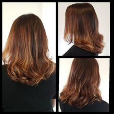 Balayage kleuring voor donker haar, Beige hair color, Coper color. www.vanderwalintercoiffure.nl
