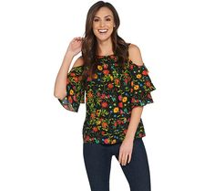 Linea by Louis Dell'Olio Wild Flower Cold Shoulder Top - Page 1 — QVC.com