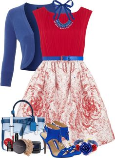 """Red and Blue"" by lmm2nd on Polyvore"