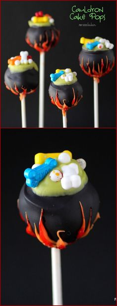 Learn how to make these fun Halloween Cauldron Cake Pops at home. It's so easy and so fun! My kid was so impressed!