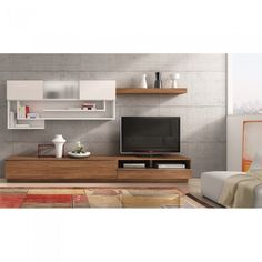 Tv stand on pinterest tv stands tv and salons - Meuble tv mural blanc laque ...