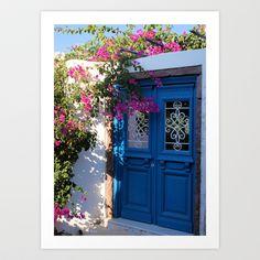 Greek Santorini Doors Art Print by Brian Raggatt    - $17.68