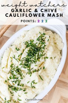 Garlic and Chive Cauliflower Mash | Weight Watchers #weightwatchers #thanksgivingdinner #ww #wwpoints #wwrecipe #carrieellefood #wholefoods #lowcarb #plantbased #vegetarian