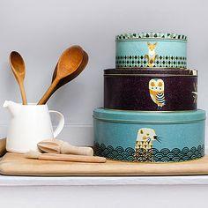 Set Of Three Wildlife Storage Cake Tins