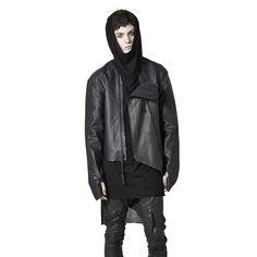 Shop Sustainable Luxury Avant-garde Designer Barbara I Gongini MAN Black Asymmetric Leather Jacket at Erebus