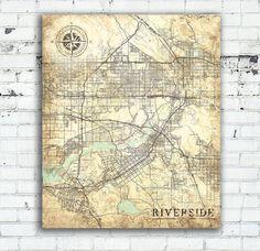 Riverside California Vintage map Riverside City California Vintage map Art Print poster USA Riverside retro old map United States of America