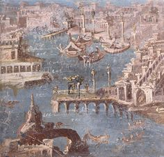 Ancient Roman fresco with harbour scene from Stabiae, 1st Century