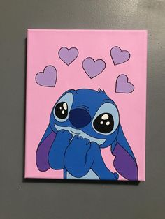 Lilo and Stitch Wholesome Stitch Acrylic Stretched Canvas Painting Easy Canvas Art, Small Canvas Art, Mini Canvas Art, Easy Art, Easy Canvas Painting, Disney Canvas Paintings, Disney Canvas Art, Cute Paintings, Toile Disney