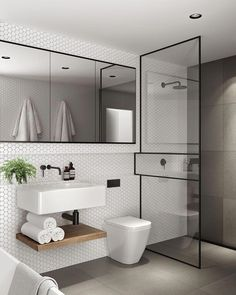 How to get the Minimalist Modern Aesthetic in Your Bathroom via Simply Grove #moderndesignbathrooms