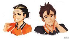 Hair swaps with Noya and Asahi. Noya looks pro, and Asahi could actually rock that.