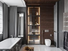Contemporary, masculine bathroom