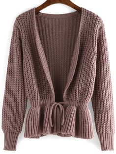 Purple long sleeve drawstring sweater coat sweater jacket, sweater co Loose Knit Sweaters, Fall Sweaters, Sweater Coats, Sweater Jacket, Fall Outfits For Work, Cute Jackets, Sweater Weather, Autumn Winter Fashion, Long Sleeve Shirts