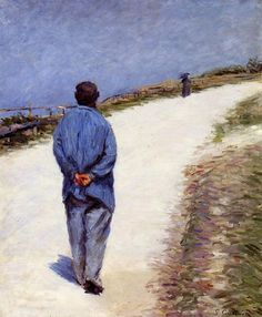 Man in a Smock, or Father Magliore on the Road between Saint- Clair or Etretat , 1884. Gustave Caillebotte