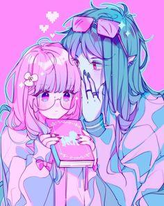 Anime pink cute girl and boy pastel art aesthetic 🍑alma🍑 Art Kawaii, Arte Do Kawaii, Anime Kawaii, Manga Drawing, Manga Art, Anime Art, Anime Love, Pastel Goth Art, Pink Art