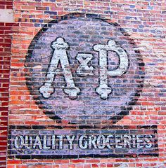 A P Grocery store in Boothbay Harbor,ME Advertising Signs, Vintage Advertisements, Vintage Ads, Retro Ads, Building Signs, Building Art, Brick Building, Old Country Stores, Barn Art