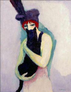 """Kees van Dongen (Delfshaven (P-B), 1877 – Monte-Carlo, 1968) """"La femme avec un chat. Représentation de Madeleine Grey"""" 1908, Huile sur toile, H. 36 cm ; L. .29 cm. ? © ?"""