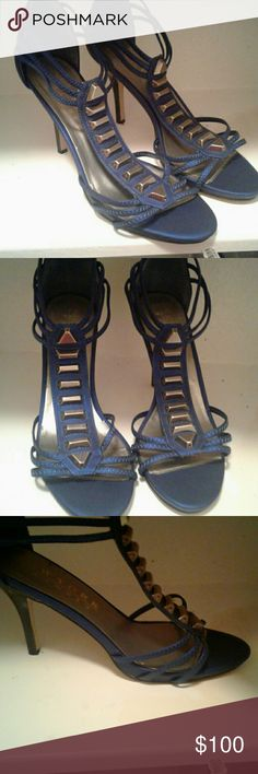 Blue heels blue strappy heels 3inch. New York Transit Shoes Heels