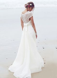 Wedding Dresses - $193.55 - A-Line/Princess Scoop Neck Court Train Chiffon Wedding Dress With Ruffle Sequins Bow(s) (0025100082)