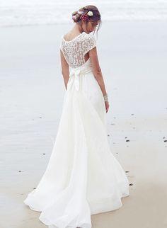 Wedding Dresses - $193.55 - A-Line/Princess Scoop Neck Court Train Chiffon Wedding Dress With Ruffle Sequins Bow(s) (0025100082)