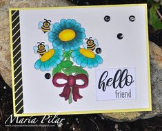 Posted @withregram • @mariapilar60 Dicen que las abejas son fundamentales para el mundo por la polinización. En esta tarjeta ellas son las protagonistas con los sellos digitales de @joyclairstamps  #clearstamps #joyclairstamps #joyclairdesigns #joyclair #crafts #scrap #papercrafts #papercrafting #papercrafter #handmade #handmadecard #handmadecards #card #cards #cardmaking #cardmakingideas #cardmakinghobby #greetingcard #greetingcards #cardideas #cardmaker #makingcards #diycards #carddesign… Stamp, The World, Digi Stamps, Bees, Stamps