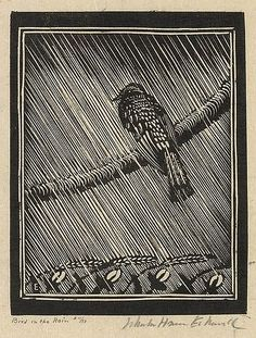 ✨ Wharton Esherick, American (1887-1970)  - Bird in the Rain.Signed, titled and numbered 11/50 in pencil, 149x117 mm; 5 7/8x4 5/8 inches