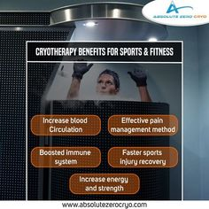 Feel the benefits of Cryotherapy on sports and fitness! Book an Appointment Now! #WholeBodyFitness #BodyWellness #TotalBodyFitness #CryotherapyBenefits #SportandFitness