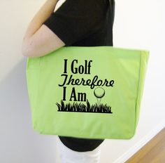 Golf themed tote bag  golf gift  polyester by SparkleandComfort