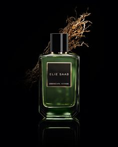 Essence No. 6 Vetiver by Elie Saab is a Woody Spicy fragrance for women and men. This is a new fragrance. Essence No. 6 Vetiver was launched in Th. Perfume Zara, Perfume Diesel, Perfume Bottles, Elie Saab, Perfume Collection, New Fragrances, Product Photography, Cosmetic Photography, Ideas