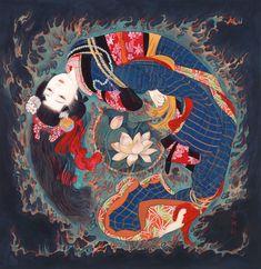 Kisho Tsukuda / Artbank - Holiday World Japanese Drawings, Japanese Artwork, Japanese Painting, Japanese Prints, Fish Drawings, Oriental, Asian Sculptures, Geisha Art, Learn Art