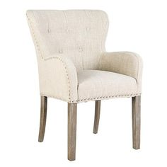Champagne Ivy Upholstered Dining Chair with wooden legs