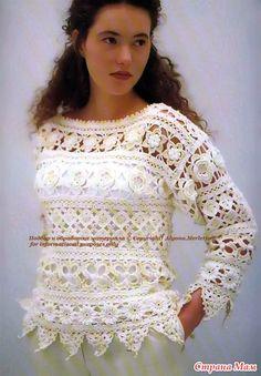 Нарядный пуловер со вставками из цветочных мотивов. Крючок. - ВЯЗАНАЯ МОДА+ ДЛЯ НЕМОДЕЛЬНЫХ ДАМ - Страна Мам