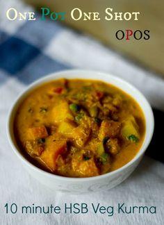 Easy 10 minute vegetable kurma recipe using the OPOS method. Serve with chapati/parotta/roti etc.