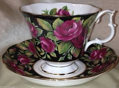 ROYAL ALBERT BONE CHINA BOUQUET SERIES CRIMSON GLORY FOOTED CUP & SAUCER