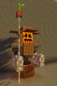 Minecraft Farm Robot Statue - Design for a Minecraft Robot Farmer statue Minecraft Farmen, Minecraft Kunst, Minecraft Statues, Minecraft Structures, Minecraft Medieval, Minecraft Construction, Minecraft Tutorial, Minecraft Blueprints, Cool Minecraft Houses