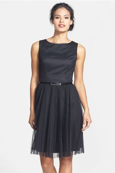 Belted Swiss Dot Tulle Fit & Flare Dress (Petite) by Adrianna Papell on @nordstrom_rack