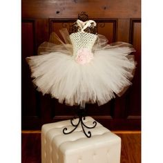 Bella Pearls & Chiffon Baby Girl Crochet Tutu Dress in Pink & Ivory