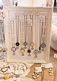 Great way to display necklaces, earrings, etc.