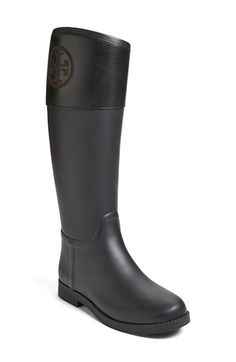 This Tory Burch waterproof rain boot lends a classic equestrian style, even when splashing through puddles.