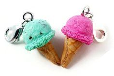 Handmade Polymer Clay Ice Cream Cone Charm Set (Mint Chocolate Chip and Strawberry) by KymirasCreations