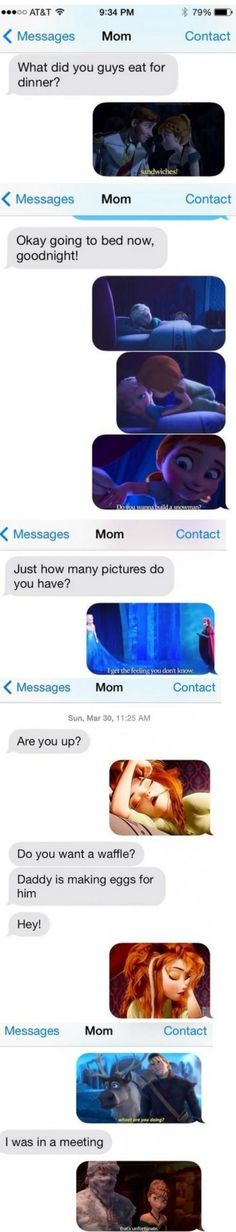 Frozen texts (wasn't sure if I should put this in funny or Disney .(Disney has been chosen. Disney Pixar, Disney And Dreamworks, Disney Love, Funny Disney, Disney Stuff, Disney Magic, Frozen Text, Frozen Pictures, Frozen Pics