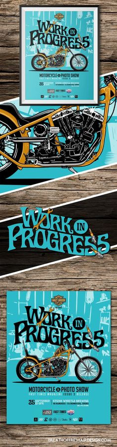 Work In Progress – Poster – Breath Of Fresh Air Design Fast Times, Breath Of Fresh Air, Illustrations And Posters, Harley Davidson, Design, Illustrations Posters, Design Comics