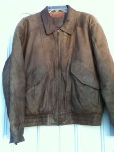 Men's Leather Jacket_size M(38-40)_Vtg_flight_bomber_brown by Expressions Int. #Expressions #FlightBomber